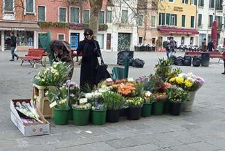 Flower vendor in Campo Santa Margherita - Venice