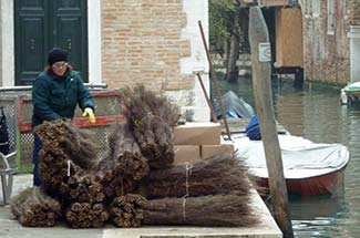 Venice street cleaner with broom twigs