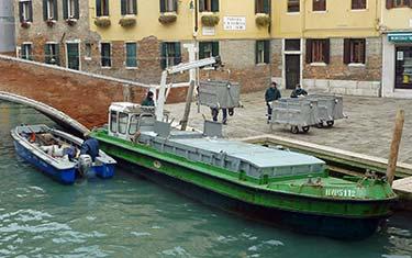 AMAV garbage barge in Venice