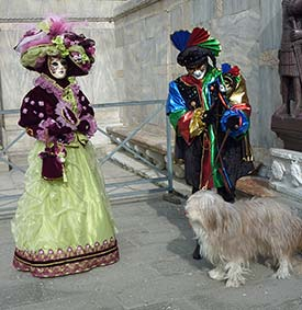Venice Carnival couple and Beardie