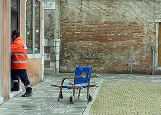 Sanitrans crewman on Campo dei Squelini