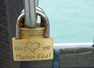 Love padlock on Accademia Bridge - Venice