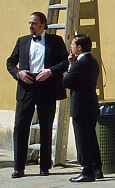 Movie actors from THE TOURIST in Venice Italy