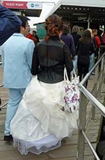 Japanese bride and groom at San Marco vaporetto stop