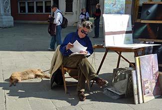 Dog artist model in Venice