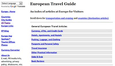 Europeforvisitors.com menus