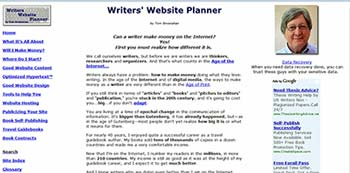 Writers' Website Planner screen shot
