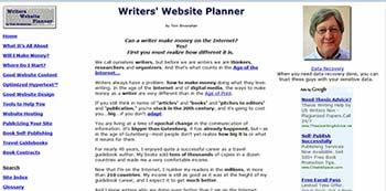 Writers' Website Planner screen shot