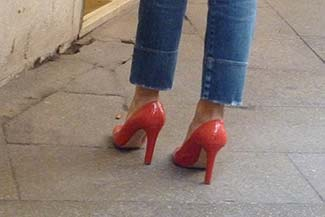 Red high-heel shoes