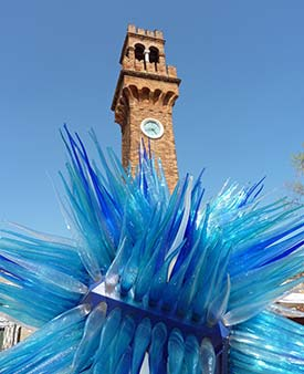 Simone Cenedese's 'Comet Glass Star' and Murano clock tower