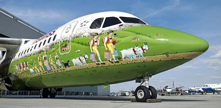 SWISS Avro RJ100 with mural