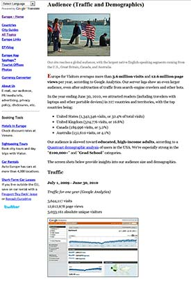 Europe for Visitors traffic and demographics page