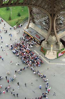 Eiffel Tower elevator ticket line