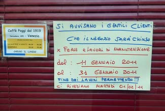 venice store maintenance sign