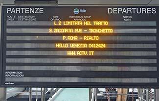 ACTV vaporetto departures board