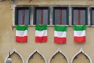 Tricolore on palazzo in cannaregio