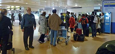 Lost luggage line at Venice Marco Polo Airport