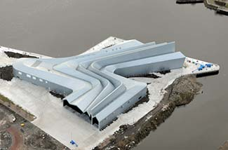 Glasgow Riverside Museum aerial view