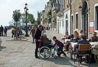 Wheelchair user on the Zattere in Venice