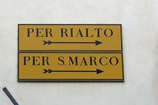 Street sign in Venice, Italy