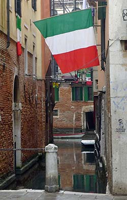 Tricolore over canal