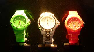 Tricolor wristwatches in a San Marco shop window