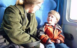 Cedar Imboden Phillips and Jackson Phillips on train in Italy