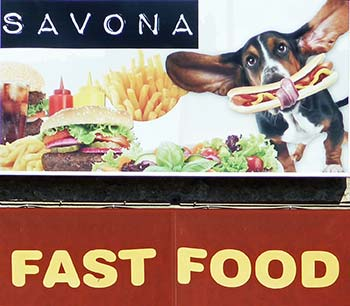 Savona fast-food shop with dog sign
