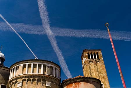 San Giacomo dall'Orio Church and contrails