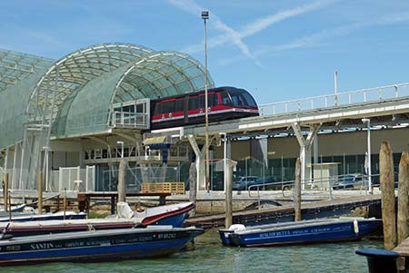 People Mover train leaving Tronchetto parking island in Venice