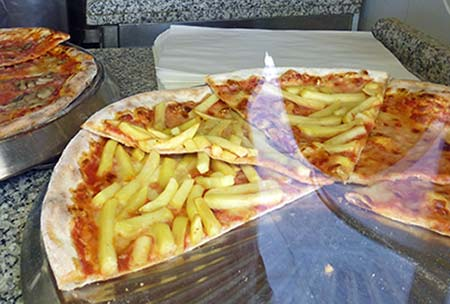 Venice pizza with French fries