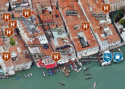 Venice Hotel Map sample section