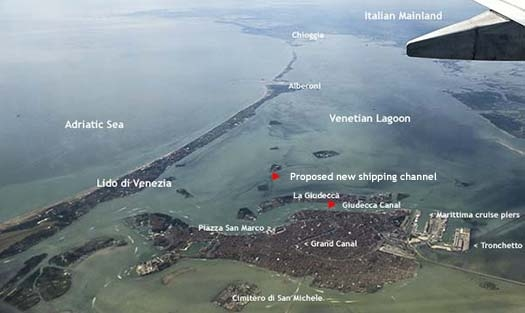 Venetian Lagoon with proposed ship channel