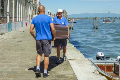 Coffin delivery in Venice, Italy