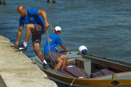 Coffin boat in Venice, Italy