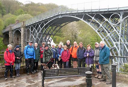Ironbridge Gorge bridge with walkers