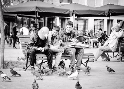 Pigeon man and pigeons in Venice