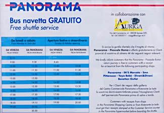 Panorama bus navetta gratiuito - timetable